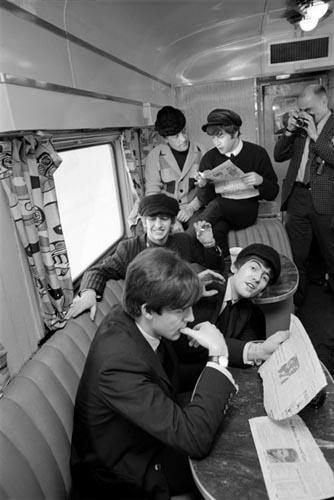 Beatles Ride the Train to D.C. Feb 10, 1964. Copyright Bill Eppridge Gelatin Silver print