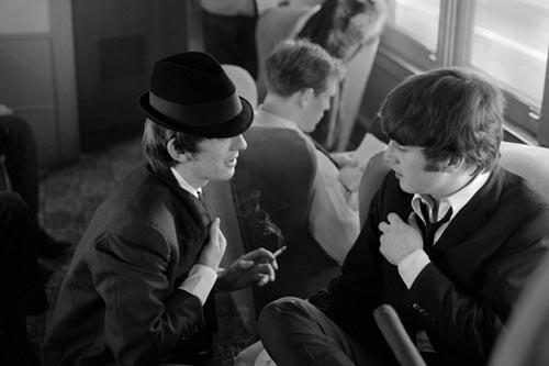 George & John. Train to D.C. Feb 10, 1964. Copyright Bill Eppridge Gelatin Silver print