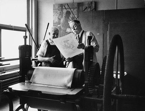 Western painter William R. Leigh and his lithographer, New York, 1948 Gelatin Silver print