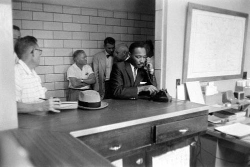 Martin Luther King at Police Headquarters, Montgomery, Alabama, 1958<br/>