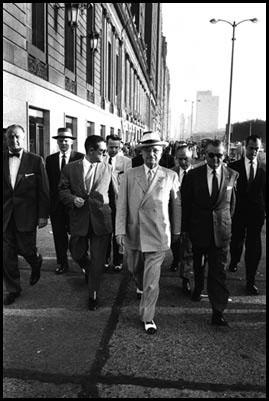 Harry S. truman walking to the 1956 Democratic Convention in Chicago<br/>