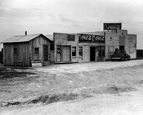 A view showing The Purple Sage Tavern, West George, Texas, 1939 (Time Inc.) Vintage Gelatin Silver Print