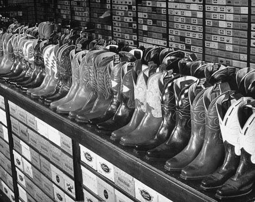 A shoe store in Nacoma, the oldest boot manufacturing center in the state, Nacoma, Texas, Texas, 1939 (Time Inc.) Vintage Gelatin Silver Print