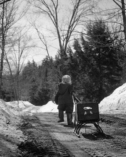 In search of snow, Stowe, Vermont, 1964<br/>
