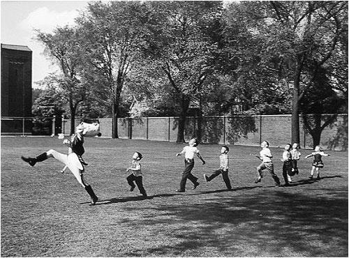 Drum Major and Children, University of Michigan, 1951 Gelatin Silver print
