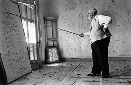 Henri Matisse drawing sketches for the murals of the Chapelle des Dominicains, France, 1950