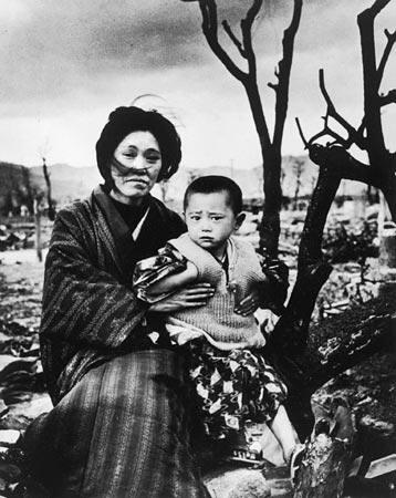 Mother and Child in Hiroshima, Four Months After the Atomic Bomb Dropped Gelatin Silver print