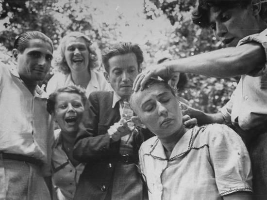 Female French Collaborator Having Her Head Shaved During Liberation of Marseilles, 1944 Gelatin Silver print
