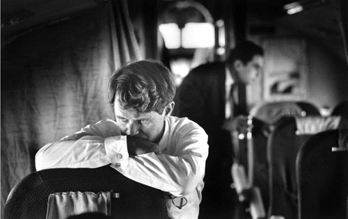 Robert F. Kennedy on the campaign plane, 1968