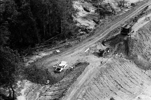 Aerial view of the dam where the bodies of  James Chaney, Andrew Goodman, and Michael Schwerner were buried, August 8, 1964, near Philadelphia, Mississippi Gelatin Silver print
