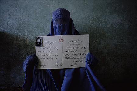 Afghan Woman with Diploma, Kabul, Afghanistan 1998<br/>