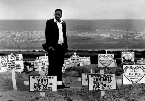 Sam Mali at gravesites, South Africa, 1982<br/>