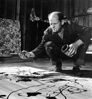 Jackson Pollock Painting in his Studio, Springs, NY, 1949 by Martha Holmes Gelatin Silver print