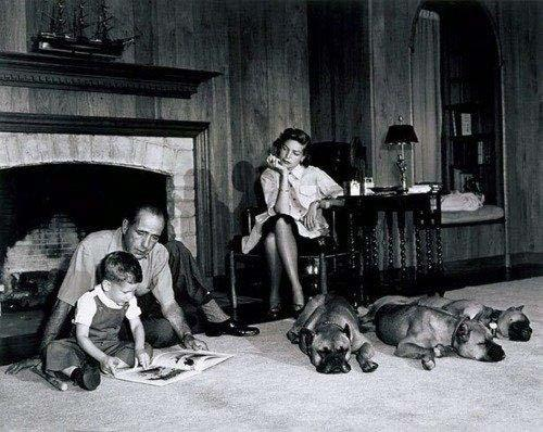 Humphrey Bogart, Lauren Bacall and their son, in their home, Los Angeles, 1952 Gelatin Silver print