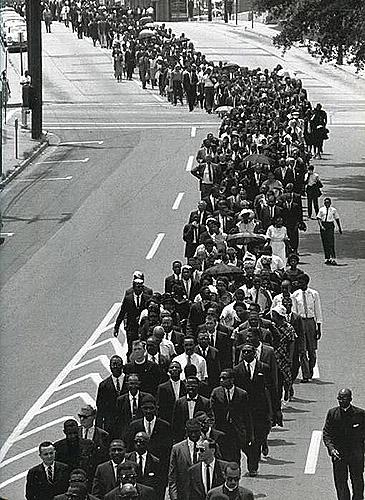 In a Show of Support that Brought Together Different Factions of the Movement, Civil Rights Leaders Joined the Funeral  Procession for Medgar Evers, Mississippi, 1963<br/>