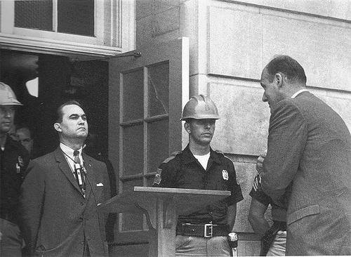 George Wallace in doorway, Tuscaloosa, 1963<br/>