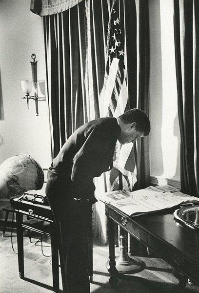 Alfred Eisenstaedt ©Time Inc. President John F. Kennedy in the Oval Office, Washington, DC, 1961<br/>