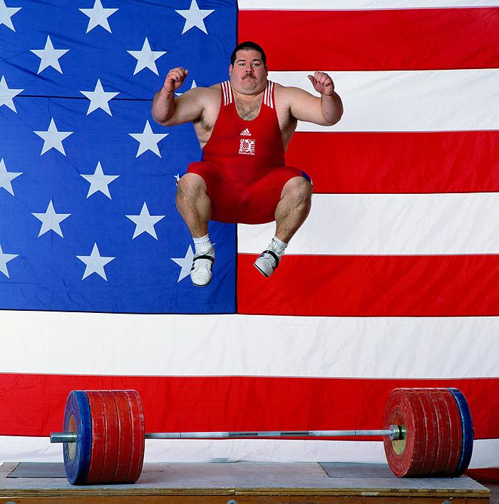Shane Hamman, Olympic Heavyweight Lifter, Leaping, 1999 Archival Pigment Print
