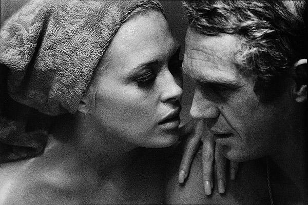 "Steve McQueen and Faye Dunaway in sauna on the set of , ""Thomas Crown Affair"", 1967 Gelatin Silver print"