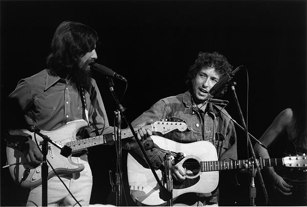 George Harrison and Bob Dylan, Concert for Bangladesh, NY, 1971 Gelatin Silver print