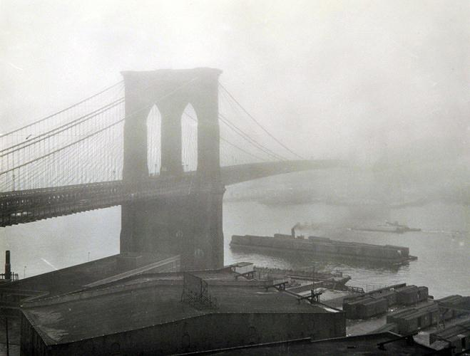 Brooklyn Bridge in the fog, New York, 1948 Gelatin Silver print