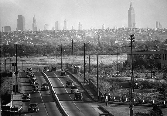 View of New York City skyline from Bendix, NJ, 1940's Gelatin Silver print