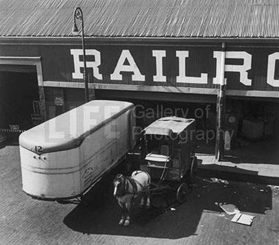 Horse drawn wagon at loading platform, Port of New York, NY, 1949 Gelatin Silver print