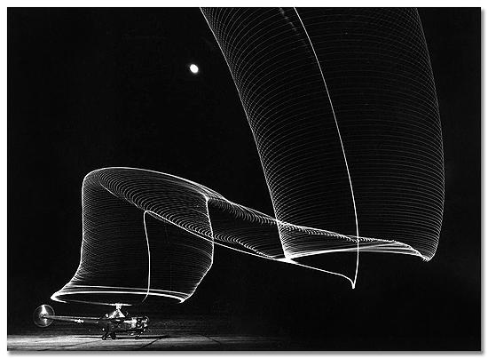 Navy helicopter or Pattern Made by Helicopter Wing Lights, Anacostia, MD, 1949 Gelatin Silver print