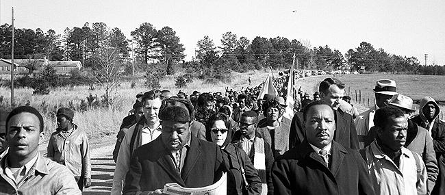 Martin Luther King with Andrew Young, Ralph Abernathy, and John Lewis, Selma March, 1965 Gelatin Silver print