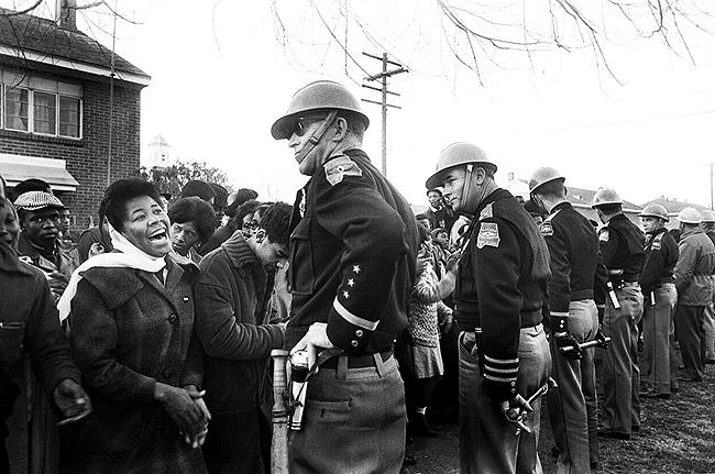 Selma crowd with State Troopers, 1965 Gelatin Silver print