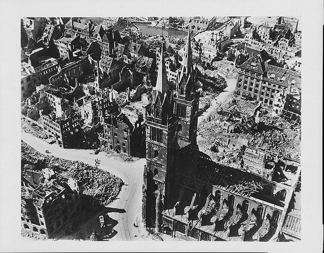 Nuremberg after Allied bombing, Germany, 1945 Gelatin Silver print