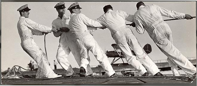 Ground Crew of the Bermuda Clipper, 1937 Gelatin Silver print, Limited Edition