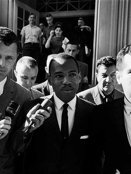African American student, James H. Meredith, interviewed after registering at  Mississippi University, following the night of anti-integration riots. Oxford, Mississippi  January 1962<br/>