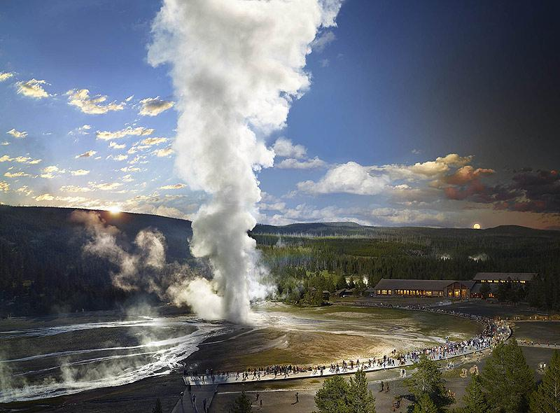 Old Faithful, Yellowstone National Park, Wyoming, Day to Night, 2015<br/>
