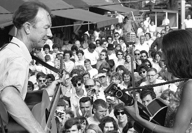 Pete Seeger with Joan Baez, Newport Jazz Festival, 1964<br/>