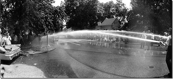 FRANCIS MILLER - Police turning fire hoses onto protesters against school integration, Little Rock, Arkansas, 1959 Vintage Gelatin Silver Print