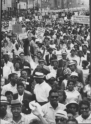 "FRANCIS MILLER - ""African Americans carrying signs protesting discrimination during demonstration at rally, Detroit, 1963""< Vintage Gelatin Silver Print"