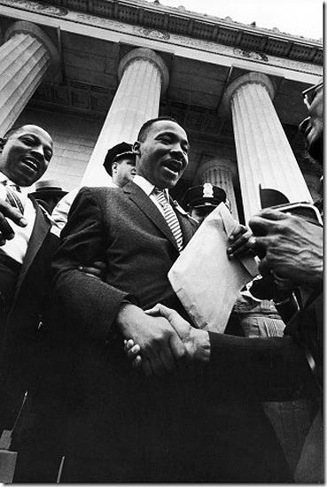 "Paul Schutzer - Martin Luther King smiles and shakes hands after address at the Lincoln  Memorial. ""Prayer Pilgrimage for Freedom"", Washington, DC 1957 Vintage Gelatin Silver Print"