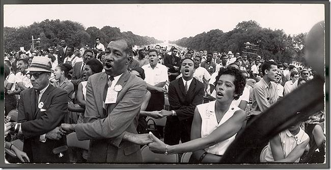 Francis Miller - Demonstrators hold hands and sing during Civil Rights demonstration in front of the Washington Monument, 1963 Vintage Gelatin Silver Print