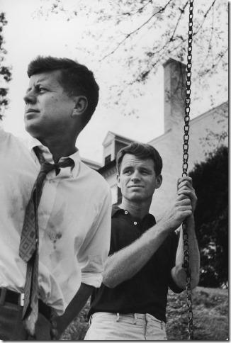 Paul Schutzer - John F. Kennedy and Robert F. Kennedy watching Bob''s children at play, McLean, Virginia, 1957 Vintage Gelatin Silver Print