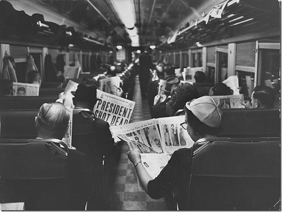 New York Commuters reading of John F. Kennedy;s assassination, 1963 Vintage Gelatin Silver Print