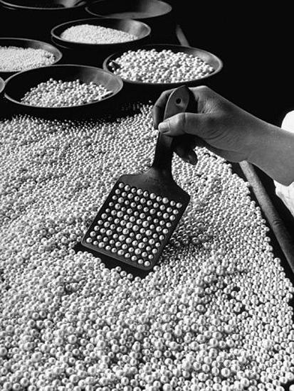 Counting Pearls in the Mikimoto Cultured Pearl Factory, Japan, 1946 Gelatin Silver print
