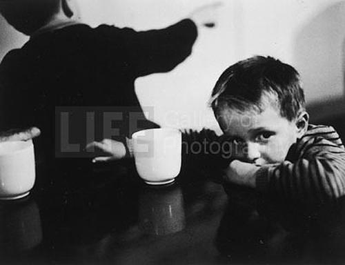Immigrant Child waiting at Ellis Island, 1950 Gelatin Silver print