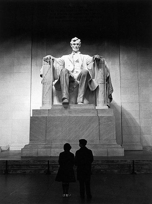 Young Americans at Lincoln Memorial, Washington, DC Gelatin Silver print