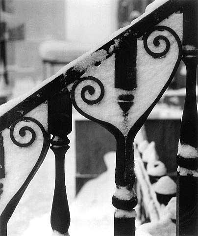 Wrought Iron Design in Snow, NYC, 1945<br/>