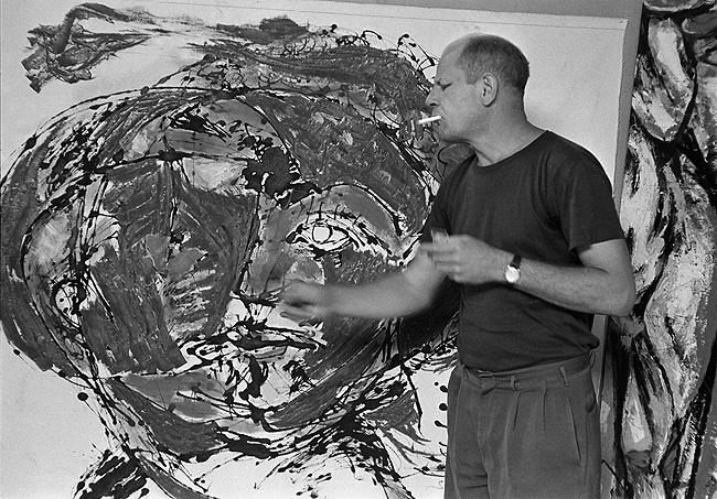 Jackson Pollock painting at his home, East Hampton, 1953<br/>