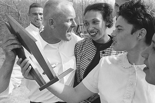 Mildred and Richard Loving with trophy, 1965 Archival Pigment Print
