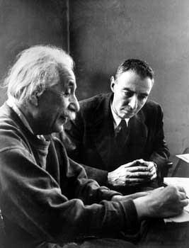 Albert Einstein and J. Robert Oppenheimer at Princeton's Institute for Advanced Study, Princeton, New Jersey, 1947 Gelatin Silver print