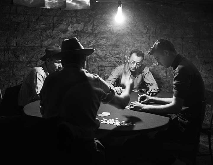 Nelson Algren Being Dealt to by the Real Life Man with the Golden Arm, 1949<br/>