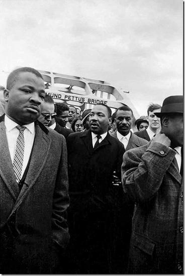 Dr. King crosses the Edmund Pettus Bridge with reverends Ralph Abernathy and Fred Shuttlesworth, 1965 Archival Pigment Print